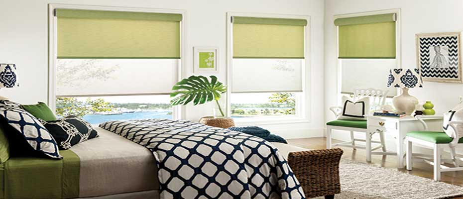 Dual-Roller-Shades-Bedroom - ZebraBlinds.com