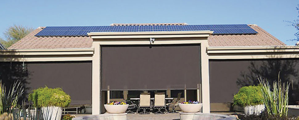 Window blinds shades drapes shutters online living for Exterior motorized solar shades